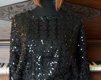 Sequined batwings black blouse, elegant sequin blouse
