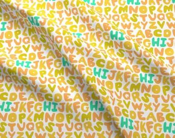 Orange Alphabet Fabric - Alphabet Puffs By Imaginaryanimal - Back to School Alphabet Cotton Fabric By The Yard With Spoonflower
