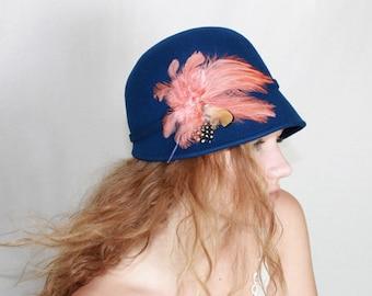 Sale-Blue Merino Wool Felt Cloche Hat,Women's Wool Hat - OOAK Wool Dress Hat - Winter Wool Hat - Wool Hat-last one