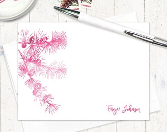 personalized flat note cards - watercolor PINE TREE BRANCH - set of 12 flat cards - botanical stationery - stationary - pine cones
