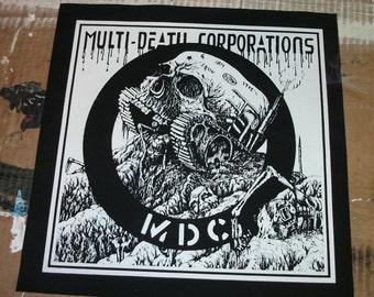 "MDC ""Multi-Death Corporations"" sew on screen printed back patch Germ Attak Cirlce Jerks Dave Dictor Jello Biafra Punk Hardcore diy"
