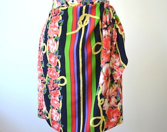 Vintage Pencil Skirt Hibiscus Floral Print - Nautical Rope Stars - Stripes - Multi Color, Navy, Yellow, Pink Wrap Skirt with Tie- Size 6
