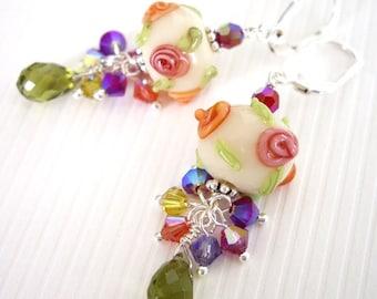 Loke Pihi - Earrings / Lampwork Glass, Sterling Silver, Swarovski Crystal
