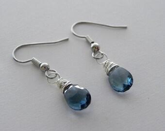 Blue stone earrings, Silver earrings, London Blue Quartz earrings, bridesmaid earrigns, sterling silver earrings, small earrings