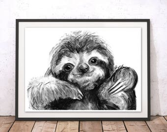 Sloth Art Print, Sloth Framed Wall Art, Sloth Illustration, Sloth Print, Sloth Gift for New Home, Sloth Wall Hanging Art Decor by Bex