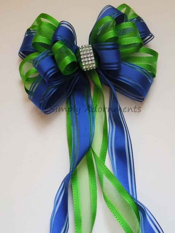Green Royal Blue Wedding Pew Bow Royal Blue Green Church Aisle