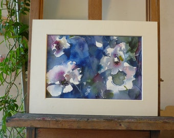 Original watercolor painting; Anemones