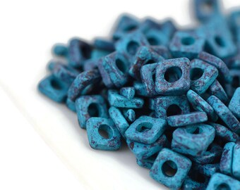 6mm Square Washer - Mottled Blue - Mykonos Ceramic Beads - QTY: 100 or 150
