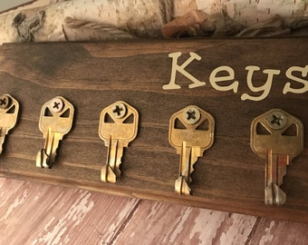Wall Key holder - Customizable key organizer  Key holder for wall Made from recycled keys and repurposed pallet wood . customized to taste