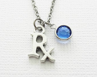 Rx Necklace, Pharmacist, Pharmacy, Medicine Jewelry, BFF, Best Friend, Birthday Gift, Silver Jewelry, Swarovski Channel Crystal Birthstone