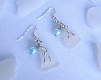 Wishbone earrings - sea glass earrings dangle earrings - beach glass jewelry.