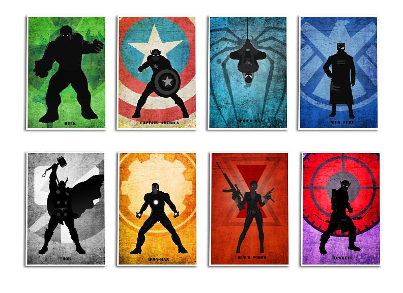 Superhero Print Set Avengers8 Minimalist Poster Captain