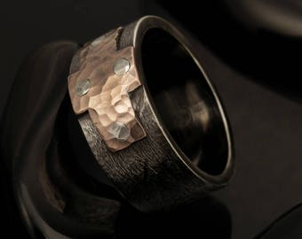 Rustic men's ring, Men's ring, Mens cross ring, Silver and copper, Unique Engagement Ring, Mens wedding ring, Gift for men,  RS-1229