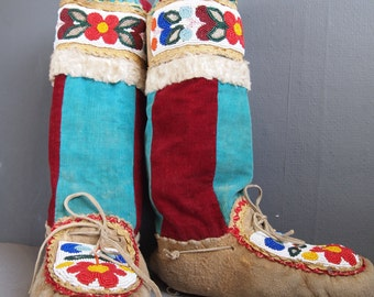Beaded mukluks - vintage moccasins - Inuit moccasins - slippers - tribal -Native American Mocs - Inuit boots - winter slippers - boho boots
