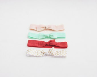 4 Pink Elastic Hair Tie Bows - Signature Rose Collection - Hair Ties - Set of 4