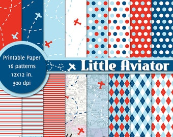 PRINTABLE Little Aviator • 12x12 Digital Paper Pack • INSTANT DOWNLOAD