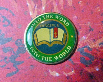 """Vintage Religious Tack """"Into the Word - Into the World - Disciple"""" - BR-358 - God Jewelry - Religious Jewelry - Religious Brooch"""