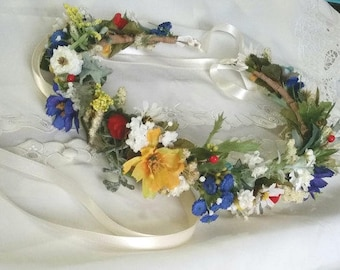 Wildflower hair wreath bridal floral headband yellow blue red Engagement photo prop wedding flower crown festival halo