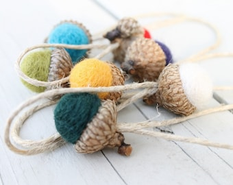 Needle Felted Acorn Ornaments Multi Colored Tree Decorations Package Tie Ons