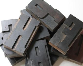 "4.5"" Letterpress Wood Block Letters, sold individually, Vintage Large Wooden Letterpress Letters"