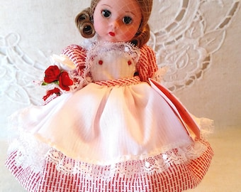 """Red and White Wishes, Madame Alexander 8"""" Doll, Box, Wrist Tag, Paperwork, Rose Bouquet Added"""