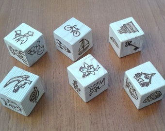 Story Cubes - six wooden picture cubes for story telling, educational toy, teaching aid, encourage your child's imagination