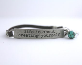 Inspirational Quote Bracelet, Positive Message, Life Quote, Leather Bracelet, Graduation Gift, Travel Quote, Girl Power, Stocking Stuffer