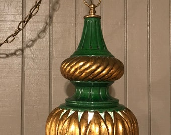 Vintage Mid-Century Modern Large Ornate Cut-Out Pattern Aladdin Style Swag Light or Pendant Lamp Green and Gold Chandelier