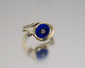 White Gold rings with Lapis Lazuli and Cubic Zirconia
