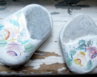 Painted Stones, Painted Roses, Small Painted Stones, Paper Weights, Painted Stone Shoes,  Door Stop, Beach Decor, by gardenstones on etsy