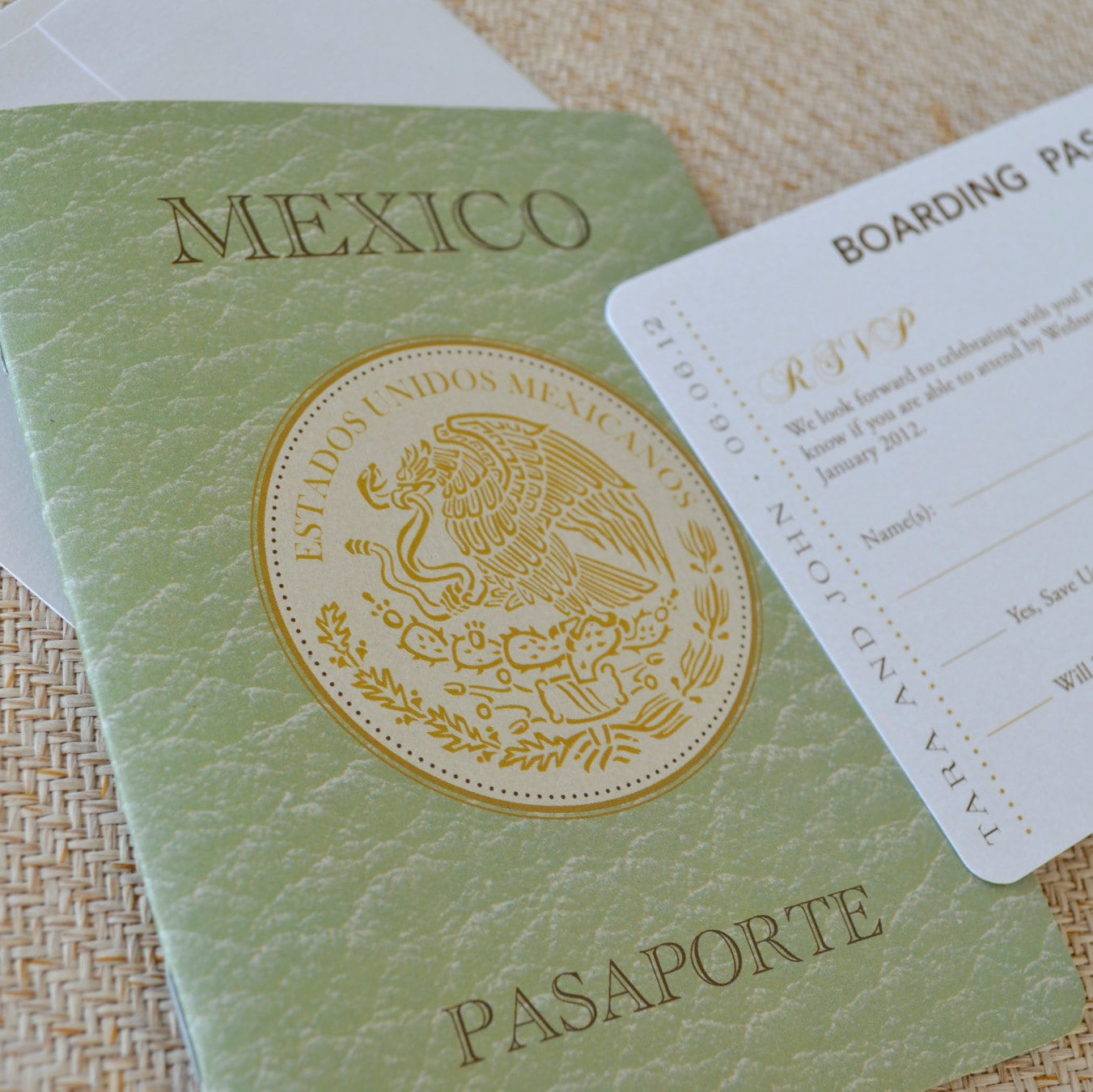 Mexican Crest Passport Wedding Invitation San Jose Del Cabos