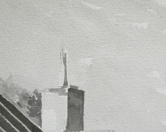 Rooftops Original Ink Drawing