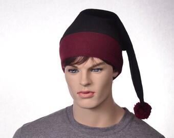 Black Stocking Hat Burgandy Maroon Brim Long Pointed Mens Hat Women Elf Cap Oxblood Long Beanie Hat Adult