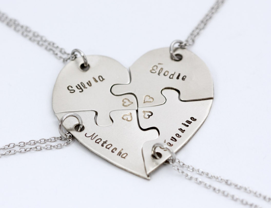 Hand engraved heart puzzles necklaces friendship BFF four