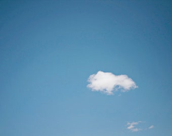 Cloud photography nature, minimal, minimalist, photo, blue sky, white cloud, soft, puffy, home decor, under 25 - Fine Art Photography Print