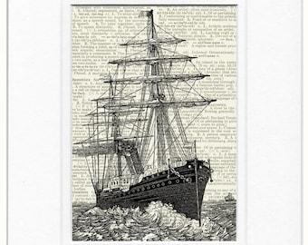 vintage sail ship VI  print