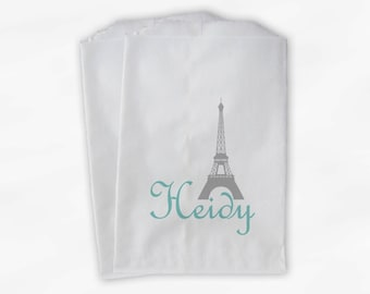 French Style Wedding Candy Buffet Bags - Gray and Light Teal Eiffel Tower Favor Bags Personalized - Set of 25 Thank You Paper Bags (0023)