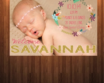 Baby Annoucement, Baby girl annoucement, Birth announcement, Newborn Annoucement,