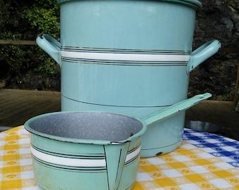 Large French Vintage Aqua Enamelware Pot with Lid plus saucepan