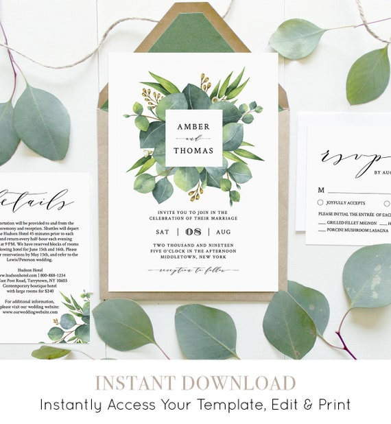 Eucalyptus Wedding Invitation Set Template, INSTANT DOWNLOAD, 100% Editable, Greenery, Printable Invite, RSVP, Detail, Templett #036B