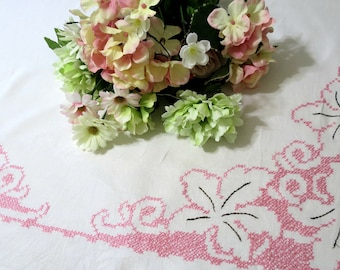 Small Vintage Linen Tablecloth Hand Embroidered w Pink Flowers, Luncheon or Tea Time Linens 35 x 33, Vintage Linens