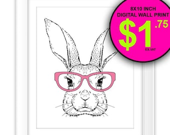 Intellectual Rabbit Wall Print, Instant Download, 8x10 Inch, Pink Reading Glasses, Nursery Wall Print, Rabbit, Bunny, Illustration, KidsRoom