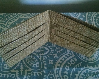 Burlap design duct tape wallet