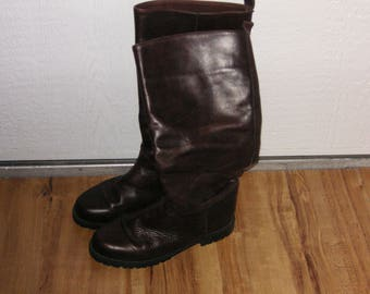 Eddie Bauer Soft Fleece-Lined Brown Leather Riding Boots from Canada in Size 7 Wide, Gently worn
