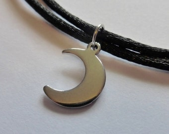 Small Stainless Steel Silver Crescent Moon Pendant With Adjustable Choker Necklace - Hypoallergenic
