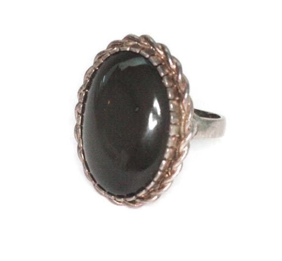Dark Gray Moonstone Ring Sterling Silver Twisted Rope Edging Signed Size 9