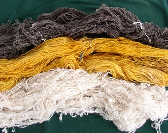 3 SKEINS OF YARN...Wool, Nubby, Great Colors....Knitting supplies, mixed media, assembledge