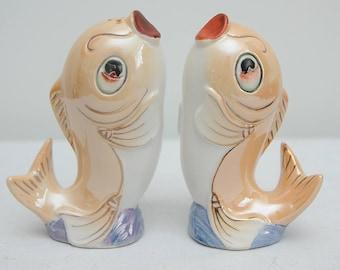 Mid Century Kitsch Fish Ceramic Salt and Pepper Shakers