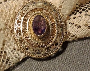Sterling Amethyst Brooch Pendant - Gold Washed Sterling Silver Filigree Brooch Pendant, REDuCED
