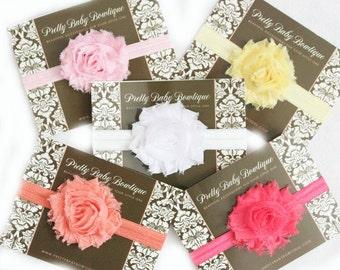 Baby Headbands- Set of 5 Shabby Pastle Headbands- Flower Baby Headband- Baby Shower Gift